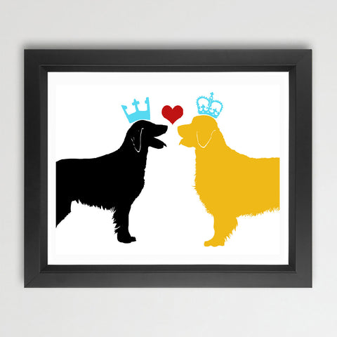 Golden Border Collie And Black Flatcoat Retriever Dogs Print