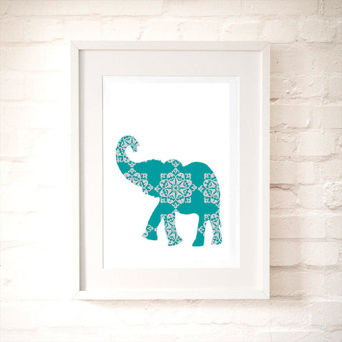 Grey And Blue Damask Elephant Art Print