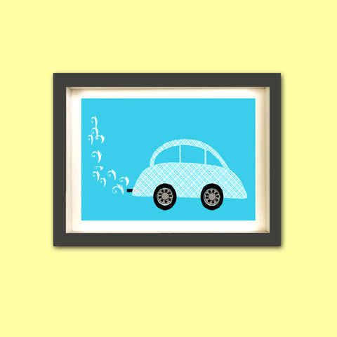 Blue Nursery Car Art