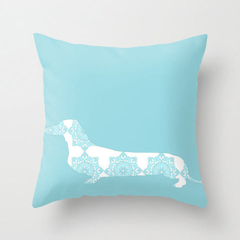 Blue Damask Dachshund on Cushion- Dachshund dog, pillows, cushions, dog cushion, dachshund dog, Dachshund Gifts, Dog Gift Ideas