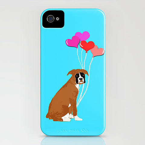 Boxer Dog With Balloons on Phone Case
