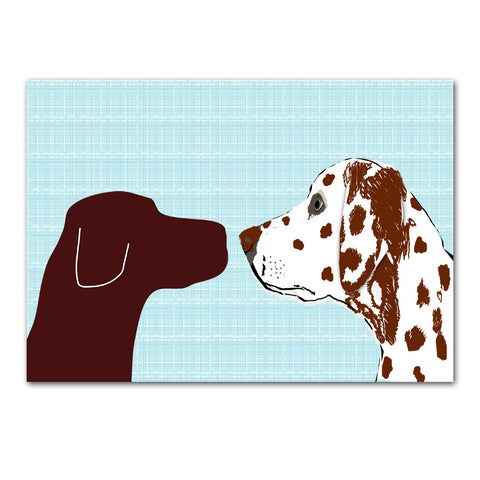 Brown Labrador with Brown Dalmatian Dog - Art Print