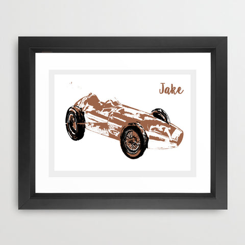 Brown Racing Car Art Print
