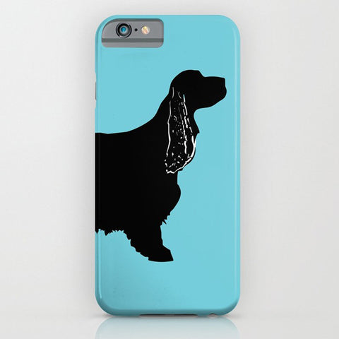 Cocker Spaniel Dog on Blue Phone Case