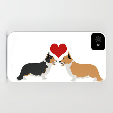 Two corgi dogs in love on Phone Case