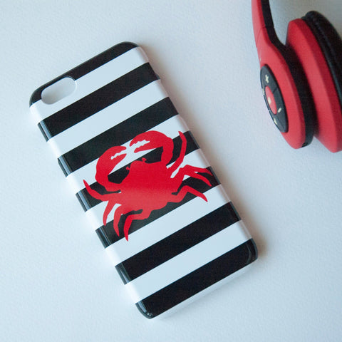 Red crab on Black and White Stripes on Phone Case - iPhone 8, iPhone X, Marble, Stripes, Sea Animal,Crab, Samsung Galaxy S9