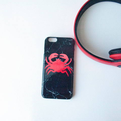 Red Crab on Black Marble on Phone Case - iPhone 8, iPhone X, Marble, Black Marble, Sea Animal,Crab, Samsung Galaxy S9