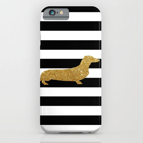Dachshund Dog in Golden Glitter Phone Case II - Dog Gift Ideas, iPhone 6S, iPhone 6 Plus, Dachshund Gifts, Samsung Galaxy S6