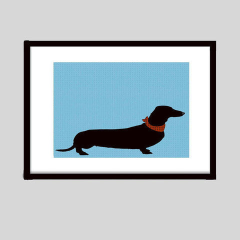 Dachshund Dog On Blue Pattern - Fine art print, portrait, sausage dog