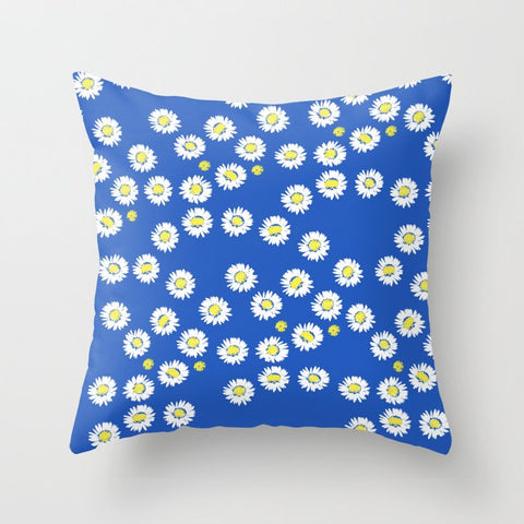 Daisy Flowers on blue Cushion Cover