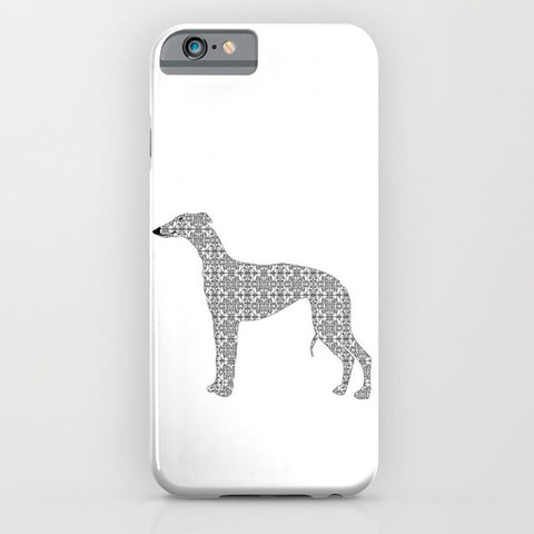 Whippet in damask design on the phone case