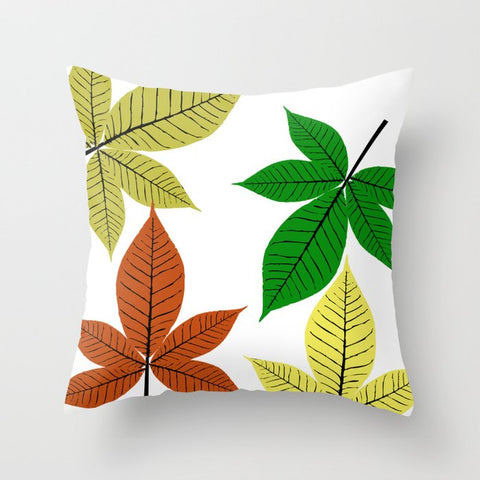 Autumn Season Leaves on Cushion Cover