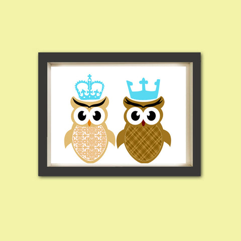 King and Queen Owl Nursery Art Print