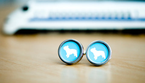 French bull dog on cufflinks