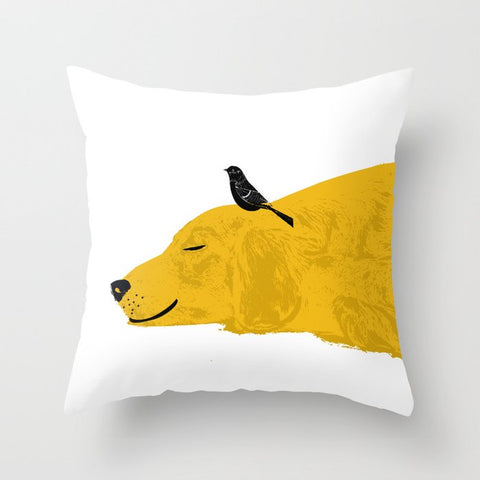 Golden Retriever Dog sleeping On Cushion Cover