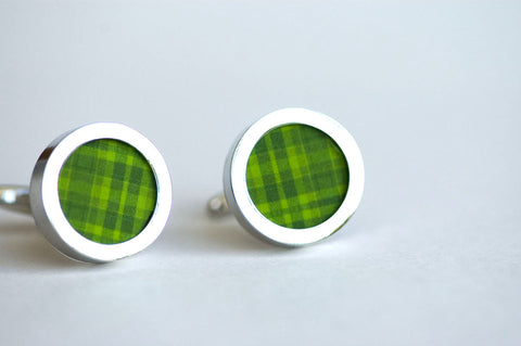 Green Stripes on Cufflinks - Unisex cufflinks, cufflinks for Dad, Husband,  novelty cufflinks, Cufflinks for wedding