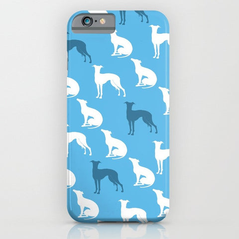 Greyhound Dogs Pattern On Blue Phone Case