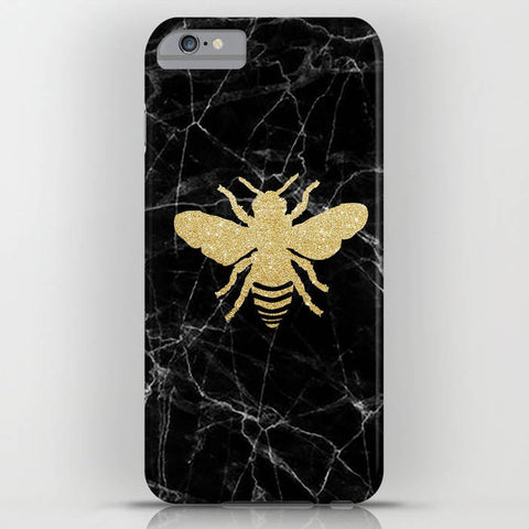 Black Marble with Golden Honey Bee on Phone Case - iPhone 8, iPhone X, Marble, Black Marble, gold honeybee, Samsung Galaxy