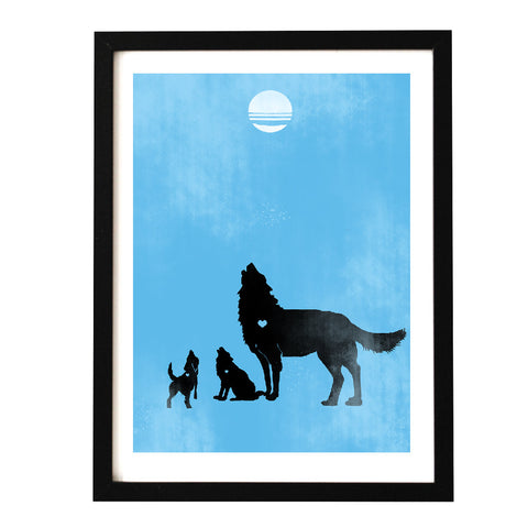 Following dad - howling wolves art print