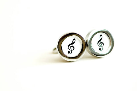 Treble Clef on cufflinks - Music note cufflinks, Men's Cufflinks,  Husband, Wedding gift, Novelty cufflinks