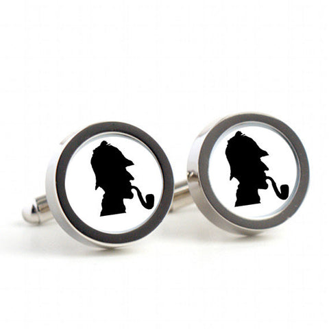 Sherlock Holmes on cufflinks - Mens Cufflinks, Cufflinks for Dad, Husband, Wedding gift, Novelty cufflinks