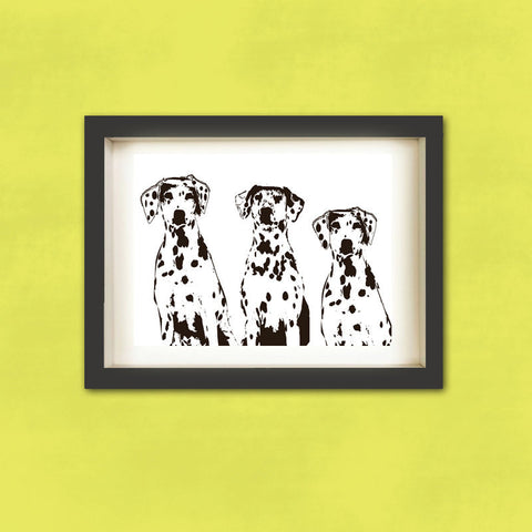 Three Dalmatian Dogs - Fine art print