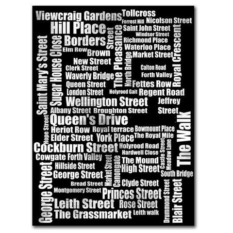 Typography of Edinburgh Street Names Art Print