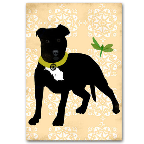 Staffordshire Bull Terrier In Black Dog Art Print