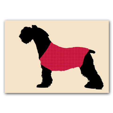 Schnauzer Dog Print - black color, silhouette, dog art, red sweater, pet lover, Schnauzer art