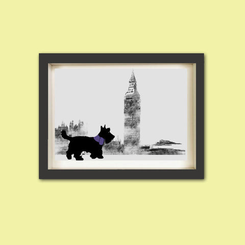 Scottish Terrier Dog in London Art Print