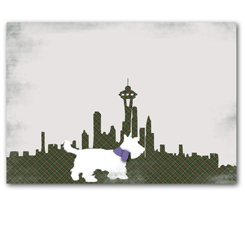 Scottish Terrier Dog in Seattle City Art Print