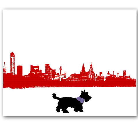 Scottish Terrier Dog in Liverpool City Art Print