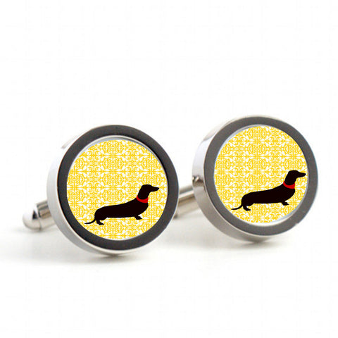 Dachshund dog on your cufflinks -  Mens Cufflinks, Cufflinks for Dad, Husband, Wedding gift, Novelty cufflinks