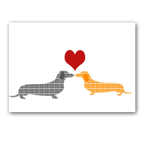 Two dachshund dogs in love - Fine Art Print