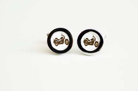 Motor bike on cufflinks - Motor Bike cufflinks, Men's Cufflinks,  Wedding gift, Novelty cufflinks