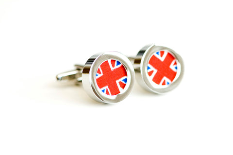 Union Jack Flag on cufflinks - Men's Cufflinks, Cufflinks for Dad, Husband, Wedding gift, Novelty cufflinks