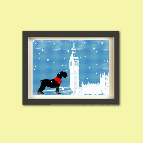 Schnauzer Dog in westminster abbey Print - black color, silhouette, dog art, red sweater, pet lover, Schnauzer art, christmas