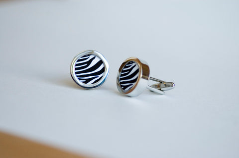 Zebra Stripes on Cufflinks - Unisex cufflinks, cufflinks for Dad, Husband, Weddings, novelty cufflinks