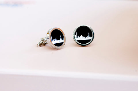 Chicago skyline on Cufflinks - Unisex cufflinks, Husband, Weddings, novelty cufflinks,  chicago silhouette fathers day gift