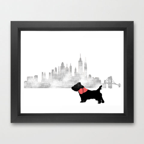 Cairn Terrier Dog in New York City Art Print