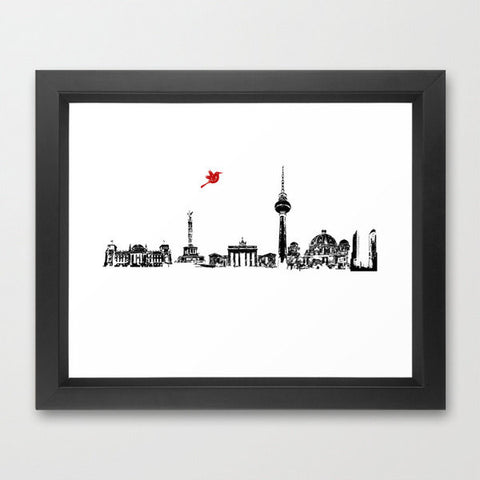 Berlin City Skyline , Germany , Bahn Tower, Brandenburg Gate, Berlin Cathedral, Reichstag Building