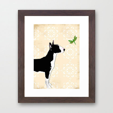 English Bull Terrier Dog in Black Art Print