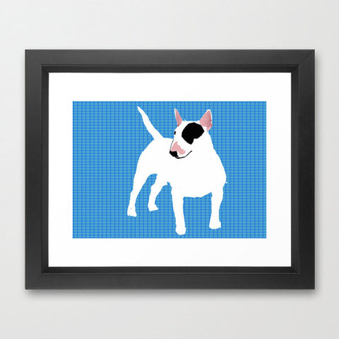 English Bull Terrier Dog in White Art Print