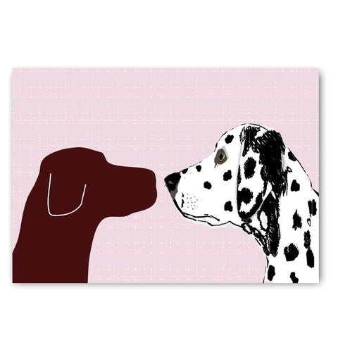 Brown Labrador with Dalmatian Dog - Art Print