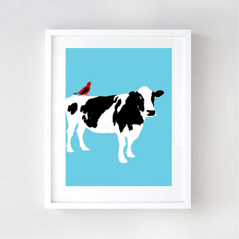 Cow on blue colour art print
