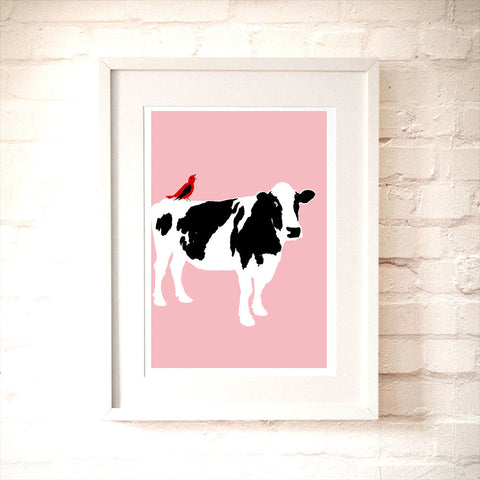 Cow on pink colour art print