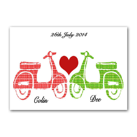 Personalised Print Vespa Scooters in Love