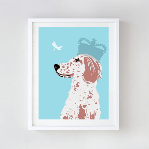 English Setter Dog  With Crown Art - Wall art, english setter print, Dog breed, setters