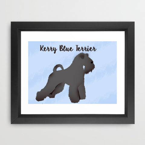 Kerry Blue Terrier Dog - Fine Art Print, Silhouette, dog art, Kerry Blue Terrier dog, portrait
