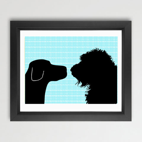 Black Labrador with Black Labradoodle Dog - Art Print